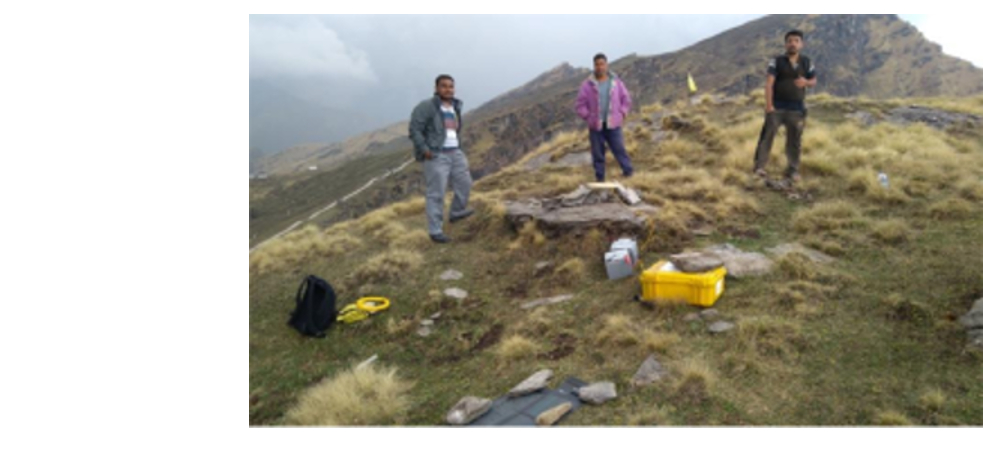 Active crustal deformation and landslide studies in Garhwal Himalayas. Campaign mode GPS survey set-up at Tungnath, Uttarakhand.
